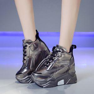 Rimocy металл серебро коренастых платформы кроссовок женщины зима теплая супер высокие каблуки ботинки высота женщина увеличение сапог Mujer MX200425
