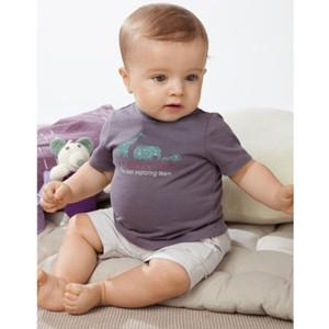 Oklady 2019 Summer Baby Boy ropa Set algodón letra T camisa y pantalones blancos conjuntos botón Casual Tops 2t 4t niños niños trajes J190529