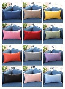 Werfen New Rectangle Cotton Linen Pillowcase Solid Color-Kissenbezug Kissenbezug Blank Kissenbezug Hauptdekoration Geschenk 15 A2030 Farben
