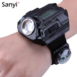 Sanyi R2 LED Wrist Watch Torch Portable Light USB Charging 4-Mode Light Tactical Time Display With Compass