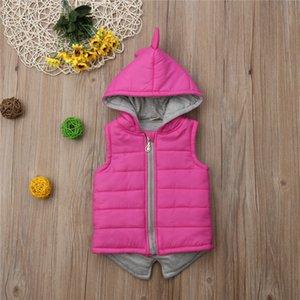 2019 Hiver New Kids Baby Girl Dinosaur coton rembourré Veste Manteau Gilet enfant en bas âge Outwear Enfants layette Rose Mode