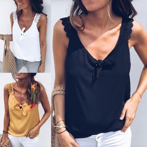 Las mujeres con cuello en V Chaleco flojo ocasional del nudo del arco de las tapas del tanque de la playa de la camiseta de la blusa de verano