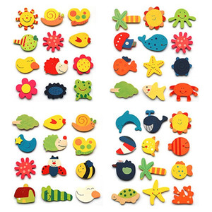 12p جيم / الكثير مغناطيس الثلاجة ملصقات ملونة خشبية الكرتون الحيوان الثلاجة ملصقات خشبية الكرتون مغناطيس الثلاجة VT0116