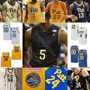 Su misura Pittsburgh Panthers Pallacanestro Jersey NCAA College Champagnie McGowens Murphy Johnson Hamilton marrone Auda'diese Toney Adams Johnson