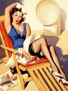 RETRO PINUP Gil Elvgren Sedia a sdraio Home Decor dipinto a mano HD Stampa della pittura a olio su tela di canapa di arte della parete della tela di canapa Immagini 191118