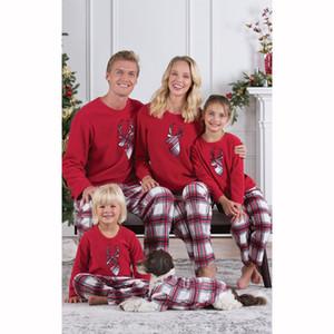 Family Pajamas набор Рождественские набор Рождество Pajamas родитель-ребенок Pajamas Santa Parted Top + клетчатые брюки бесплатная доставка XD20808