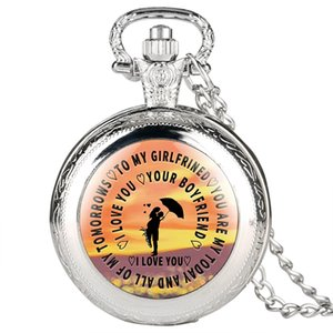 "Engraved Pocket Watch,Classic Pocket Watches with""Love You Your Boyfirend""paster Special Gift Necklace Pocket Watch for Women,Love ones"