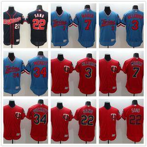 MinnesotaTwins 22 Miguel Sano 2 Brian Dozier Baseball Jersey 34 Kirby Puckett 4 Paul Molitor Retro Embroidery Stitched Jerseys