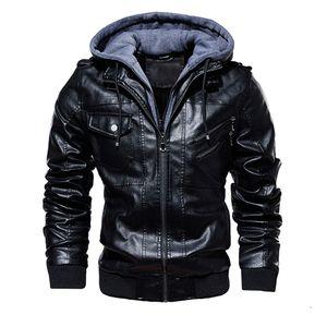 JAYCOSIN Men's winter tops thick coat coat large size casual overalls men's jacket leather plus velvet washed vintage wool