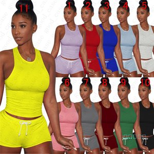 Mulheres Summer Street Casual mangas Vest Top + Shorts 2 Pieces Set Moda cor sólida Treino Outfit respirável Sportsuit D51109