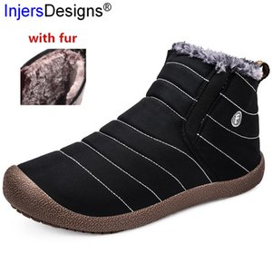 High Quality Waterproof Winter Boots Lovers Snow Boots Plush Keep Warm With Fur Cotton Shoes Outdoor Slip-On Ski Plus Size