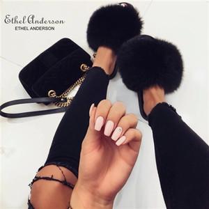 Ethel Anderson vraie mode fourrure de raton laveur Slides chaussons d'été Flip Flops Vogue Casual Fox Fur Sandales Vogue peluche Chaussures S20331