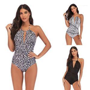 Sexy горошек дамы бикини Мода купания Одежда Зебра полосатая женщин One Piece Купальники