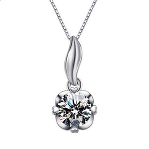 Silver Necklaces Pendant for Women Wedding Jewelry Sweater concise Chains Necklaces Women Jewelry Plated Silver Imitation Diamond Necklace