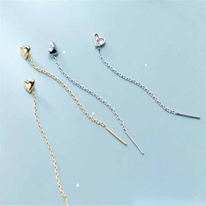 Line Tassel Earring 100% 925 Sterling Silver Earrings New 6CM Long Chain Tassel Earring For Women Cute Heart Dangle Drop Earring