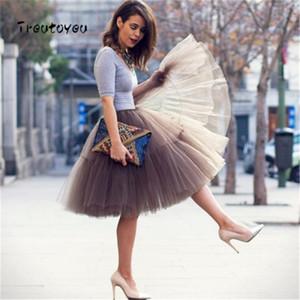 패션 55cm Tutu Tulle 스커트 빈티지 미디 스커트 Pleated Skirts Womens Lolita Petticoat Faldas Mujer Saias Jupe