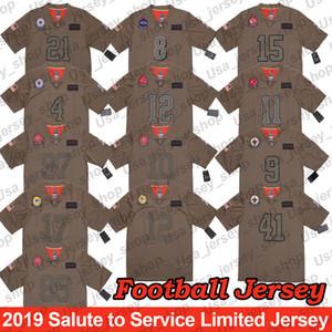 Servis Limited Jersey 2019 Tom Brady George Kittle Nick Bosa Julian Edelman Ezekiel Elliott Davante Adams Lamar Jackson Salute