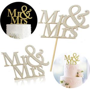 Mr Mrs Cake Topper Sposi in oro Glitter per matrimonio MR e MRS Cake Anniversary Wedding Cake Decoration