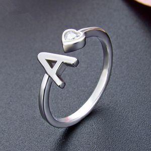 925 A-Z 26 letras iniciales anillos brillantes Micro circón anillo ajustable regalos para el amante