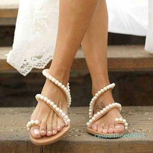 Shujin Sandalet Yaz Ayakkabı Düz İnci Sandalet Rahat Dize Boncuk Terlik Kadınlar Casual sandalias mujer C13