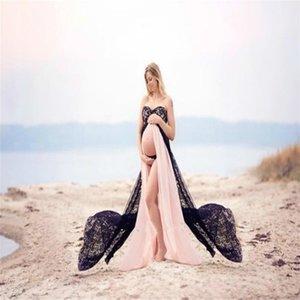 Umstandskleider Für Fotoaufnahmen Spitze Nachlauf Plus Size Beach Party Kleid Longuette Tube Top Schwangerschaftskleid Vestido Gravida Y190522