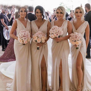 Sexy Champagne Bridesmaid Dresses Chiffon Deep V Neck Front Side Split Plus Size Maid of Honor Gown Wedding Guest Dress