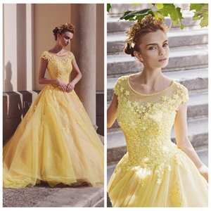 Yellow Scoop Short Sleeves Appliques Lace Quinceanera Dresses Young 2020 Modest Vestidos De Quinceanera Prom Party Gowns Formal Plus Size