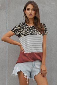 Womens Tshirts Summer Short Sleeve Loose Designer Ladies Tops Casual Contrast Color Female Tees Leopard Striped