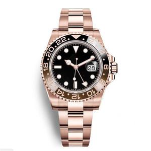 22 Montres automatiques de luxe New Gent GMT II en acier inoxydable noir rouge en céramique cercle Master 40mm Mens Watch Reloj Rose Gold Mens montres W
