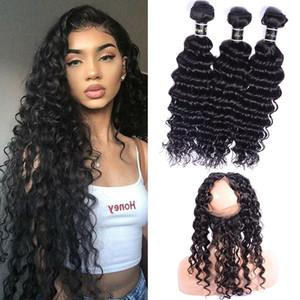 Бразильский Девы волос Extensions Deep Wave 3 пачки с 360 Lace Фронтальная с ребенком волос Pre щипковых человеческих волос 360 Фронтальная связками