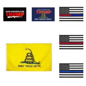 США Stock New 90 * 150 Trump Flag 3x5 Ножки Thin Blue Line Флаг Red Line США 14 2020 Президентские флаги DonT Tread на себе