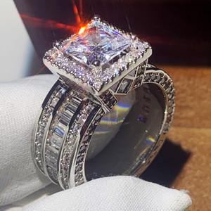 All'ingrosso-Wieck monili di lusso argento 925 principessa Cut Topaz bianco del partito del nuovo delle donne regalo di nozze di fidanzamento FEDINA For Lovers'