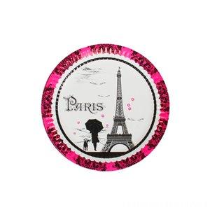 10pcslot Tower disposable plates Paris Tower theme birthday Event & Festive & Supplies party decorations Paris theme party supplies