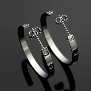 Hyperbole 2020 nouveau style 316L lettre en acier inoxydable rose grand cercle d'or en argent 18K Boucles d'oreilles aiment les bijoux de mariage pour les filles des femmes