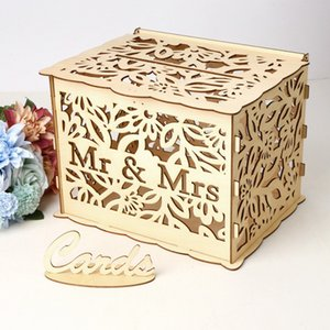 Novel Elegant Wedding Gift Box Wooden Card Money Box Wedding Decoration Supplies 30*24*22.5 CM For Birthday Party
