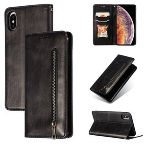Dual Card Slots Built-in Magnet Folio Vegan Leather Wallet Chain Cover Bracket Holster Phone Shell for iPhone Samsung S10 Plus J730 Huawei