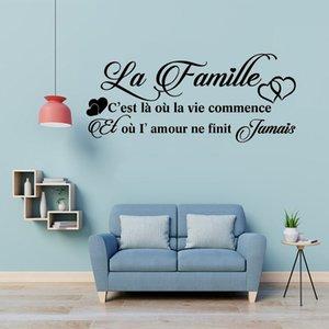 Французский La Famille винила стены настенной росписи деколь наклейки Франция Family Decor Wall Art Таблички Главная Гостиная Спальня украшения стены