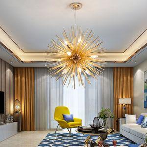 Nordic Artística LED de Aluminio Dandelion Chandelier Lámparas Colgantes de Oro Accesorio Decorativo Iluminación Hogar Sala de estar Moderno Led Luz Colgante