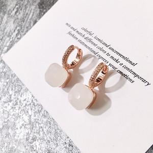 gioielli designer donne orecchini a cerchio colore caldo pietra micro intarsiato caramella colore pietra quadrata orecchini di cristallo orecchini di diamanti
