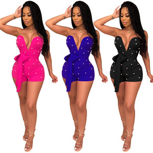 Женщины V шеи без бретелек Комбинезон Rompers Bow Tie Мода Sexy Night Club Party Женские повседневные Шорты игровая одежда Bodysuits