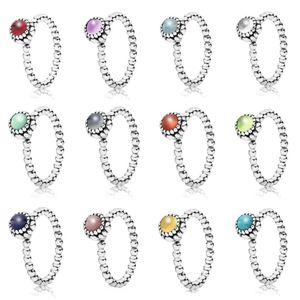 2019 NUOVO 100% 925 d'argento pandora anelli per le donne 12 Mesi multicolore della gemma opzionale Perle fascino misura dell'anello fai da te fabbrica all'ingrosso