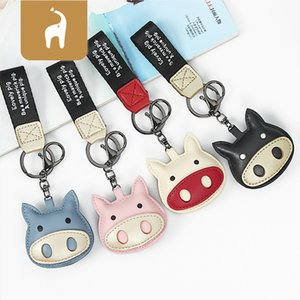 Lovely Colorful Pig Keychain Leather Charm Cartoon Animal Keyring Women Men Car Key Ring Chain Bag Pendant Accessories