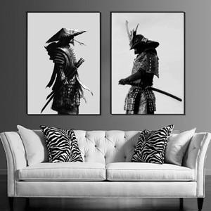 Samurai Warrior japonés Wall Art Canvas Poster, Oriental Negro Blanco Japonés Mural Samurai Pintura para la sala de estar dormitorio