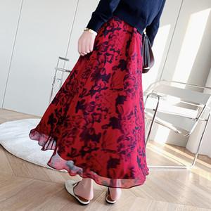 les photos de vraies femmes Jupe Printemps / Été 2020 Floral Imprimer Jupe mi-longue