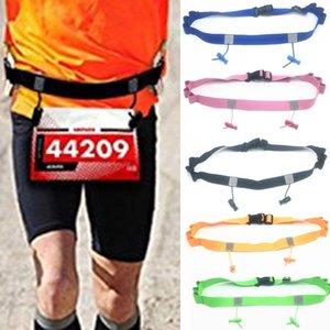 عاكس عدد حزام للجنسين الجري سباق بيب في الهواء الطلق للسيارات ركوب الدراجات الخصر حزمة الترياتلون الرياضة البوليستر حامل
