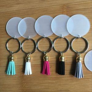 Kreative Schlüsselbund 4cm Blank Disc mit 3cm Suede Quaste Vinyl Keyrings verfügbar Monogramm Plexiglas Disc Tassel Schlüsselanhänger WY819