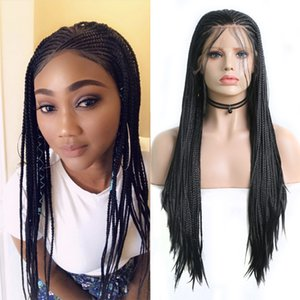 Charisma Black Braided Wig with Baby Hair Synthetic Lace Front Wig Heat Resistant Fiber Hair Long Box Braids Wigs for Women