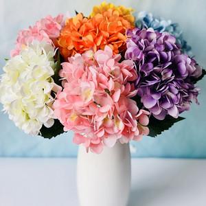 19 CM 두 잎 수국 인공 꽃 가짜 꽃 수국 실크 꽃 홈 웨딩 사진 신부 꽃다발을 들고 BH1800 CY