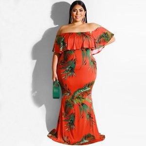 Printed Kleider Sommer-Boot-Ausschnitt weg von der Schulter Womens Designer-Kleider Ferien Rüschen beiläufige Maxikleider Aufmaß 3D Floral