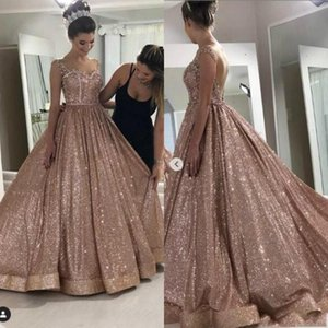 Sparkly Rose Gold Sequined Ball Gown Prom Dresses Sexy African Quinceanera Dress Beaded Backless Evening Gowns